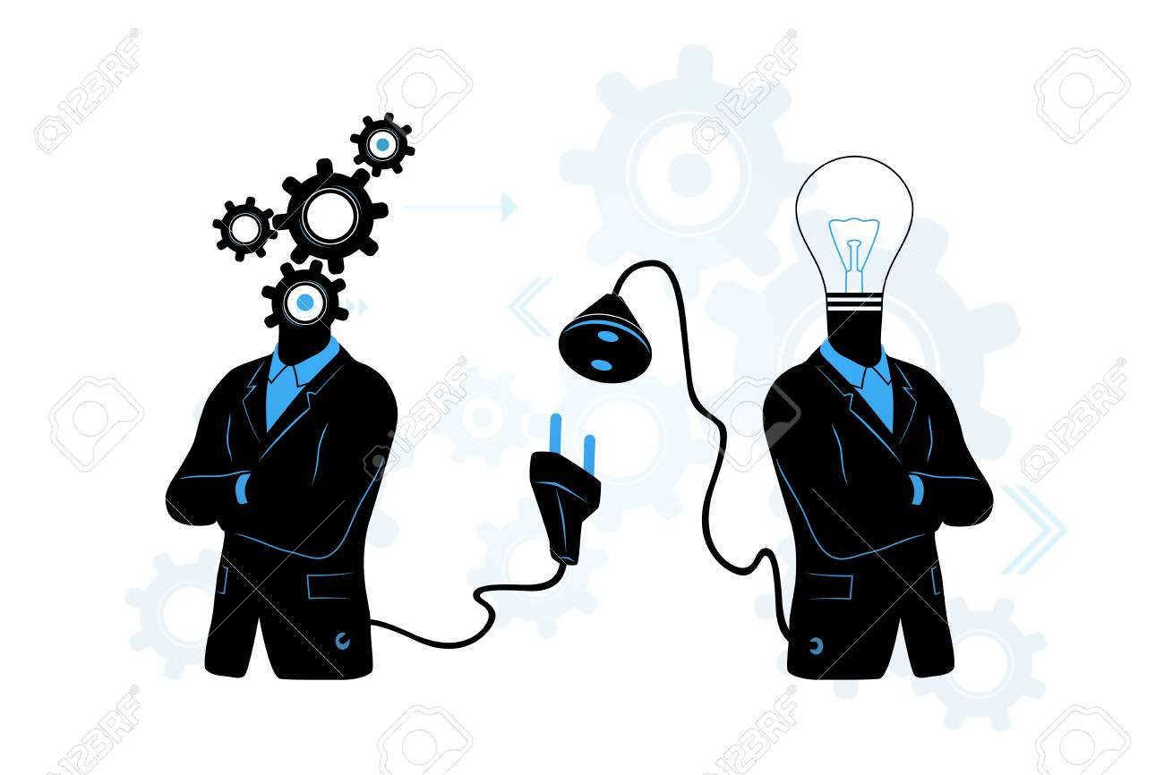 Concept of searching for connecting to idea businessman in black concept of searching for connecting to idea businessman in black suite with gears thinking symbol biocorpaavc