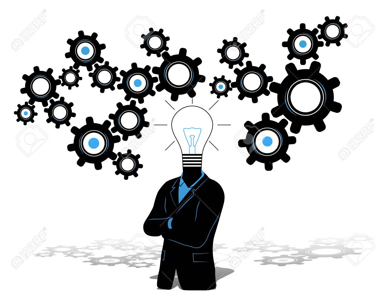 Concept Of Businessman With Idea And Thinking Progress Above