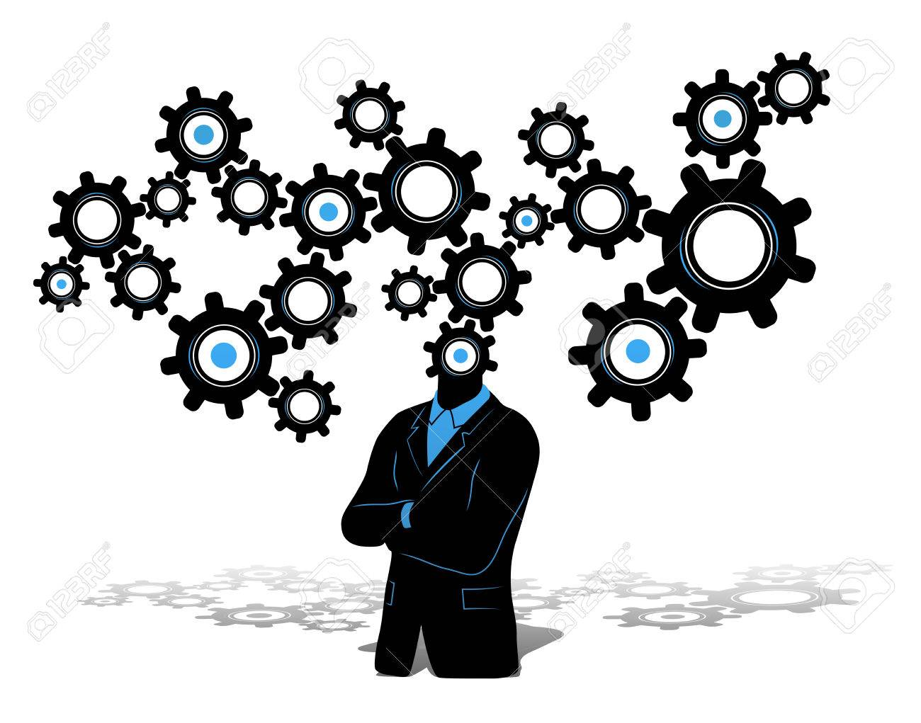 Concept of a thinking businessman growth and progress businessman concept of a thinking businessman growth and progress businessman in black suite with thinking symbol biocorpaavc