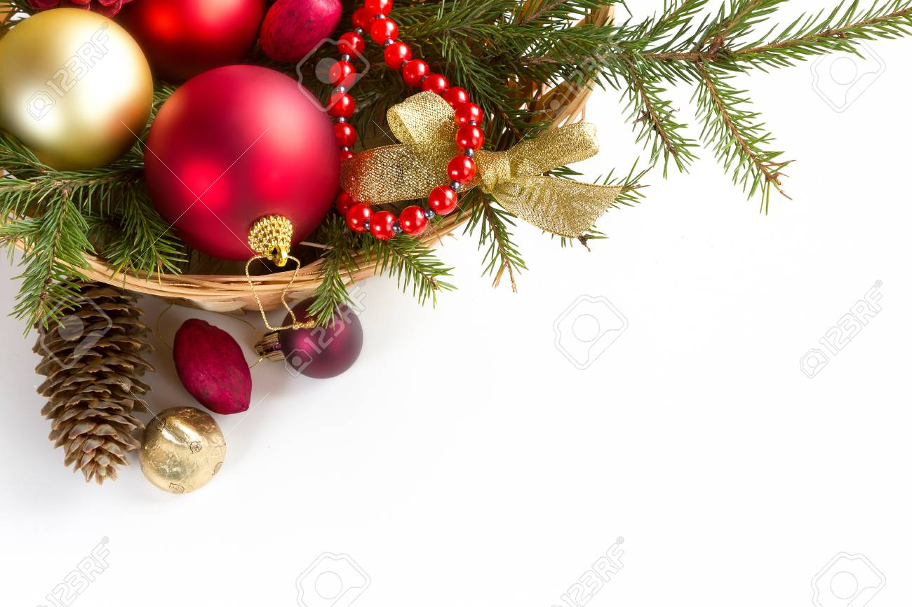 Spruce Branches With Cones And Christmas Decorations On A White ...
