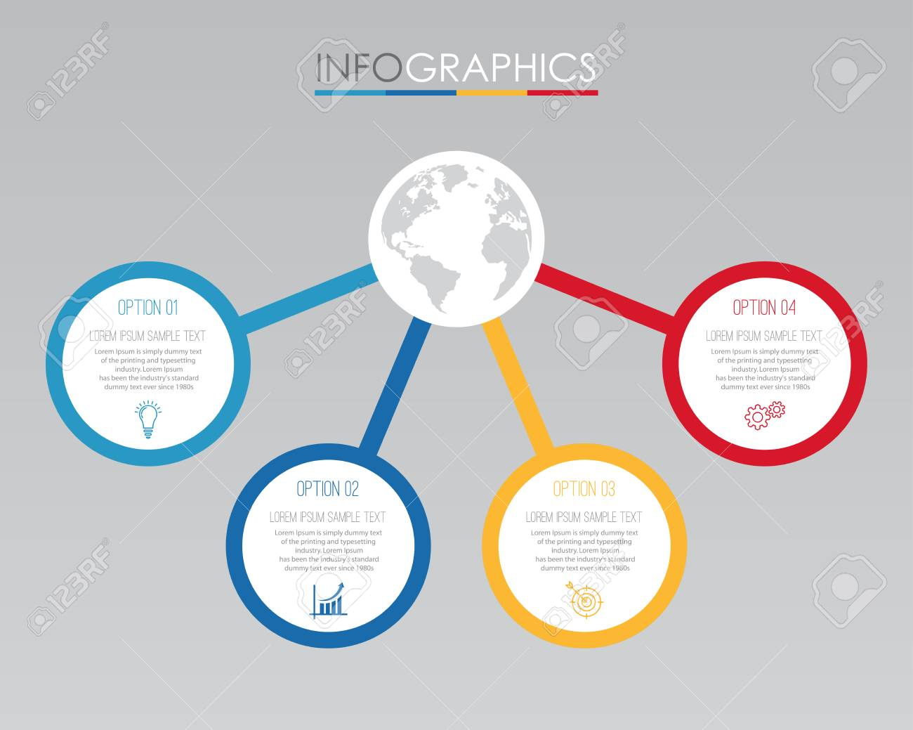 Modern Info-graphic Template For Business With 4 Steps Multi-Color ...