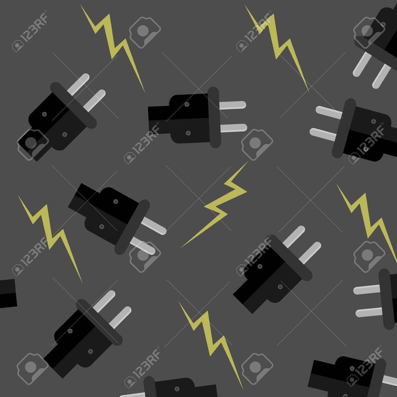 Nahtlose Muster Elektrizität. Stromenergie, Elektrische Adapter ...
