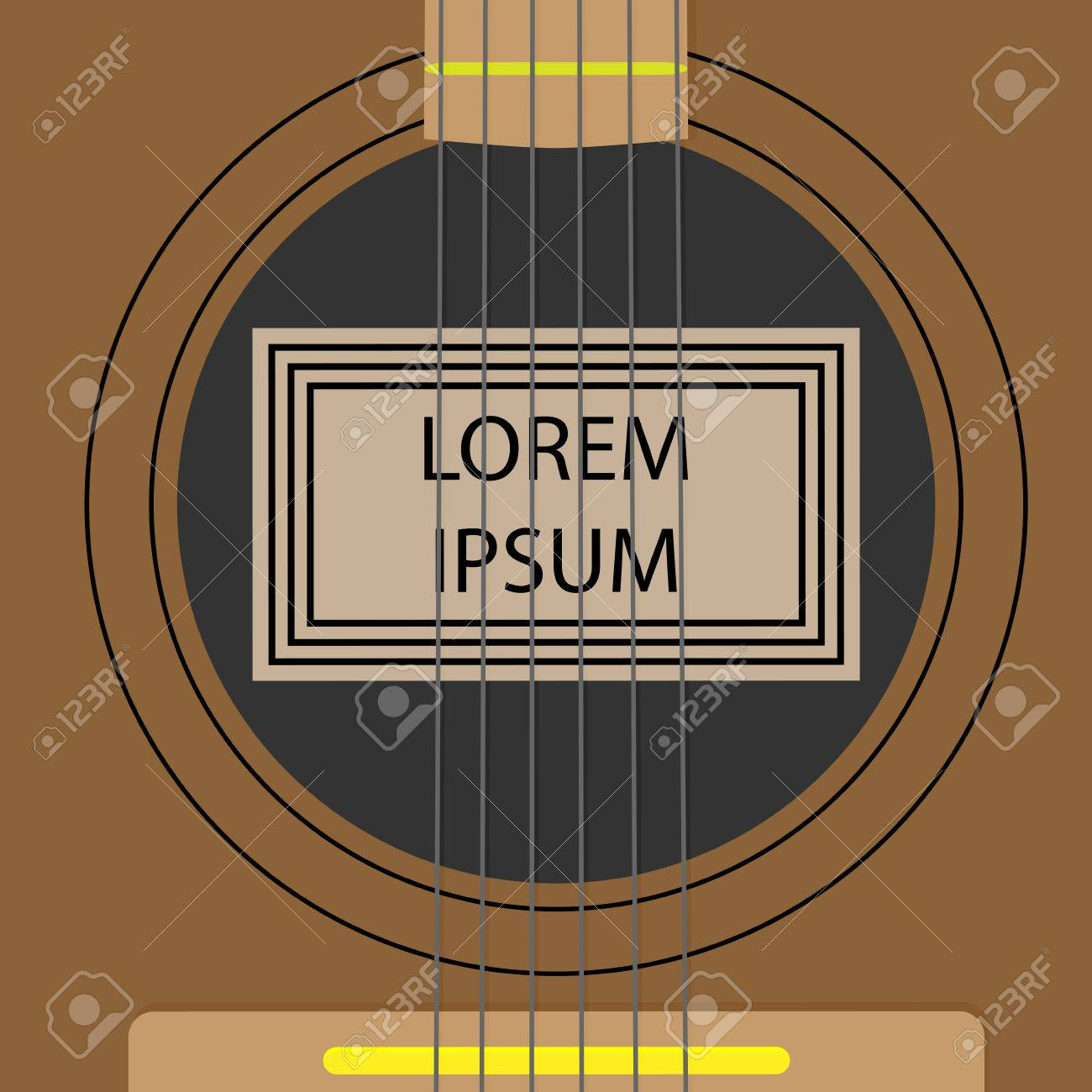 Resonator sounding board template banner. Musical sound instrument guitar, string acoustic. Vector art abstract unusual fashion illustration - 50090926
