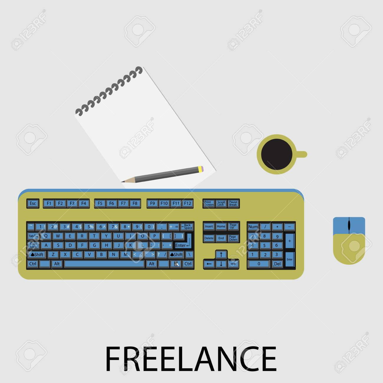 Freelance Icon Flat Design Development And Computer Process Royalty Free Cliparts Vectors And Stock Illustration Image 51619576