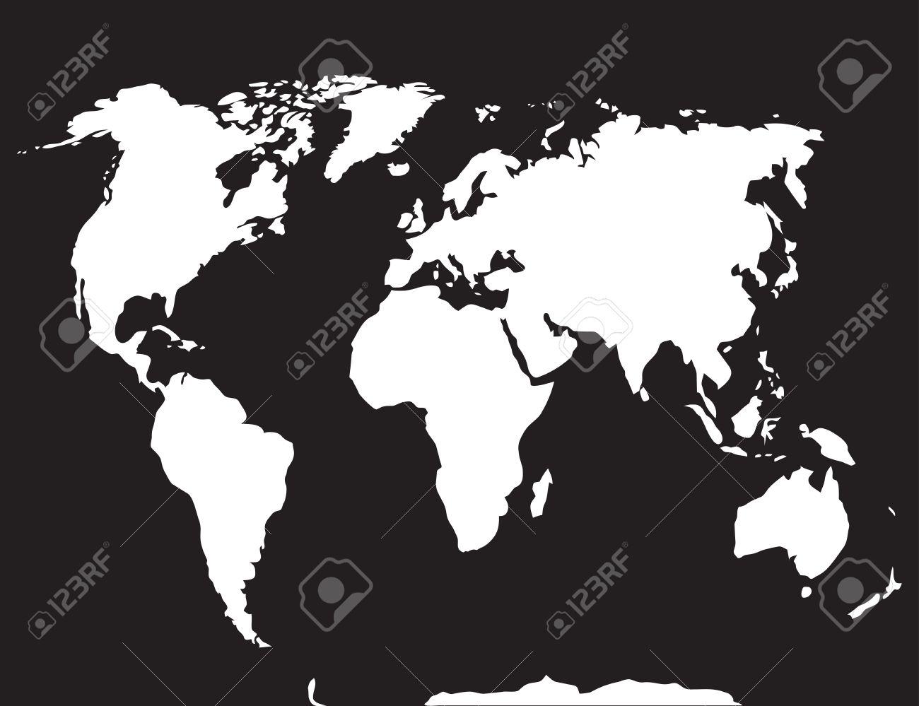 Karte Europa Schwarz Weiss.Stock Photo