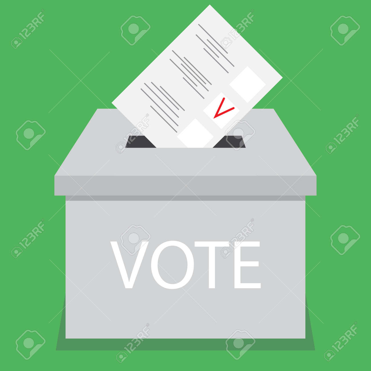 Ballot box design flat vote. Vote and ballot, election and voting box, voting booth, urn and suggestion box, ballot paper, election choice, vote government. Vector abstract flat design illustration - 53347417