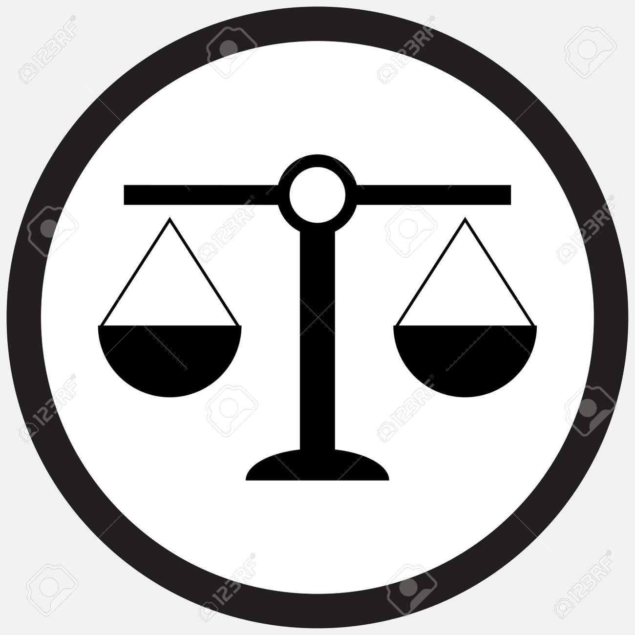 Scale-Symbol Schwarz Weiß. Gewicht Skala Und Gleichgewicht, Waage ...