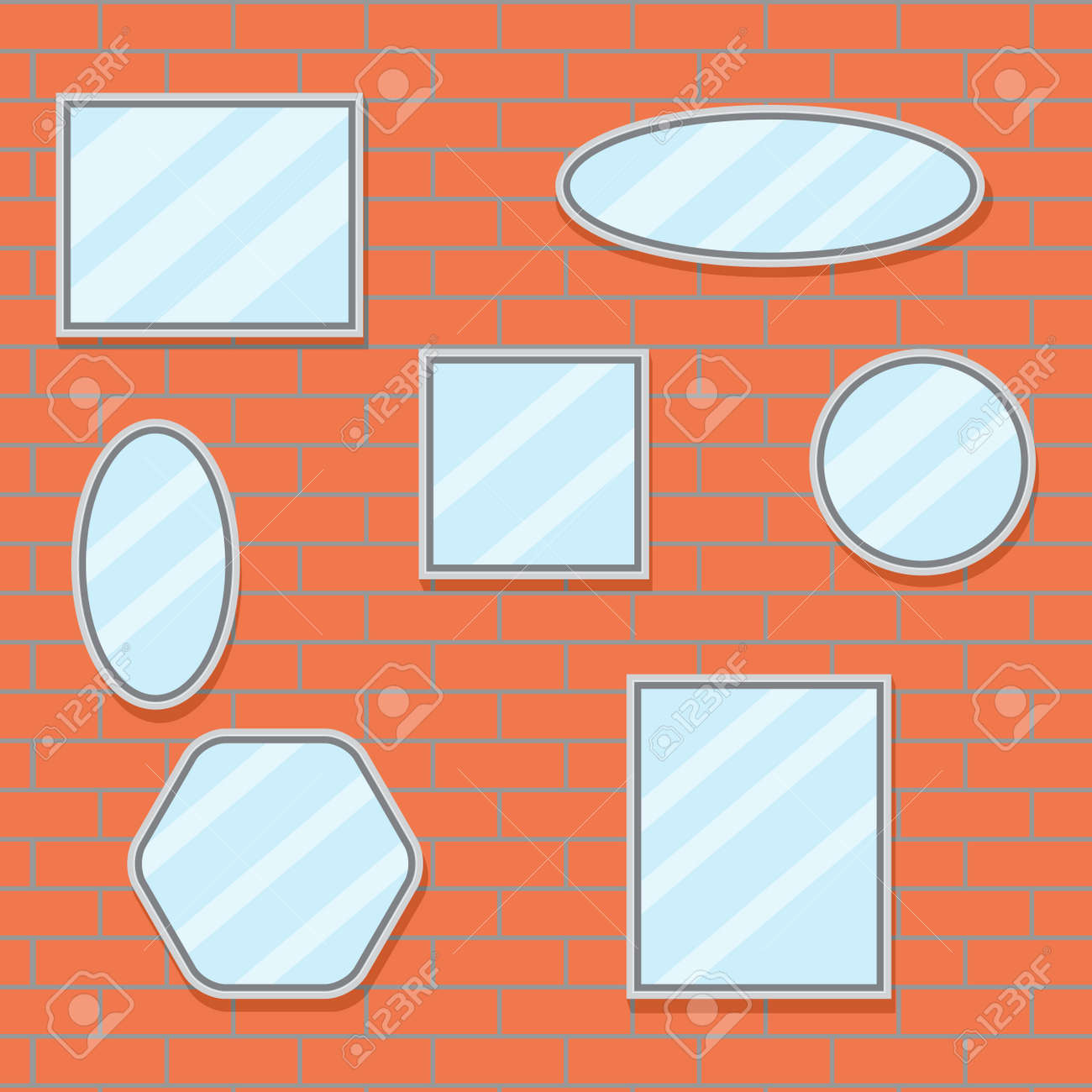 Mirror Set Design Brick Wall. Mirror Frame Border, Mirror On ...