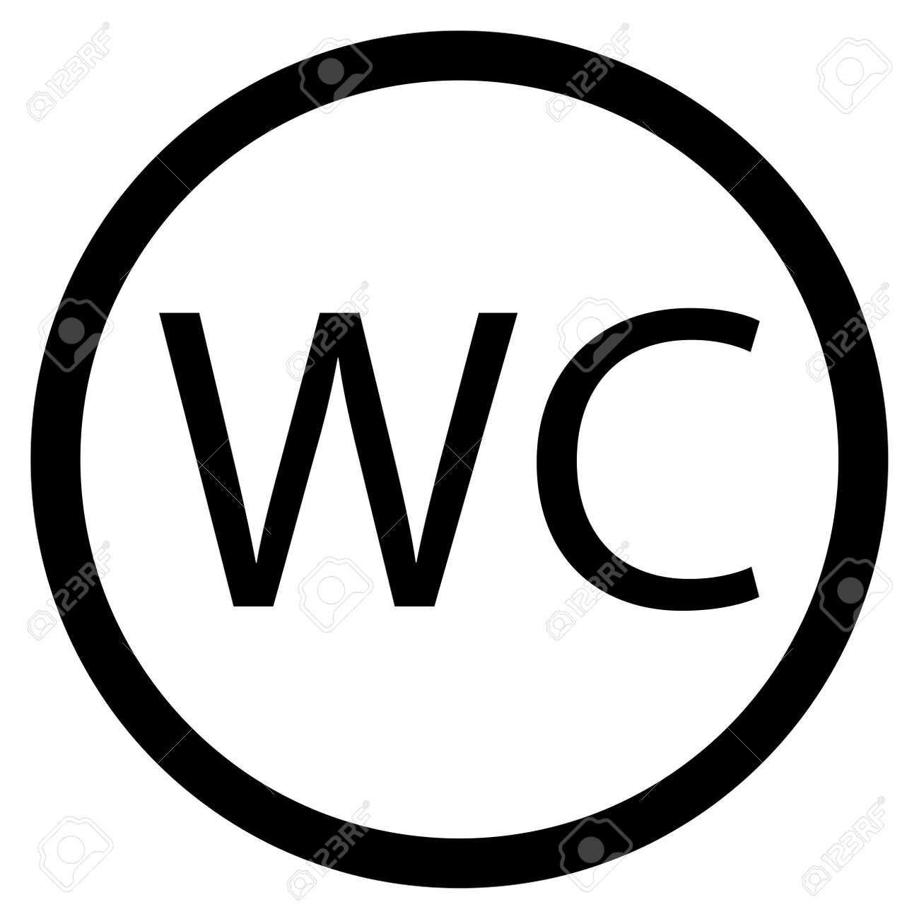 WC Toilet Icon Black White. Door Washroom Sign And Bathroom ...