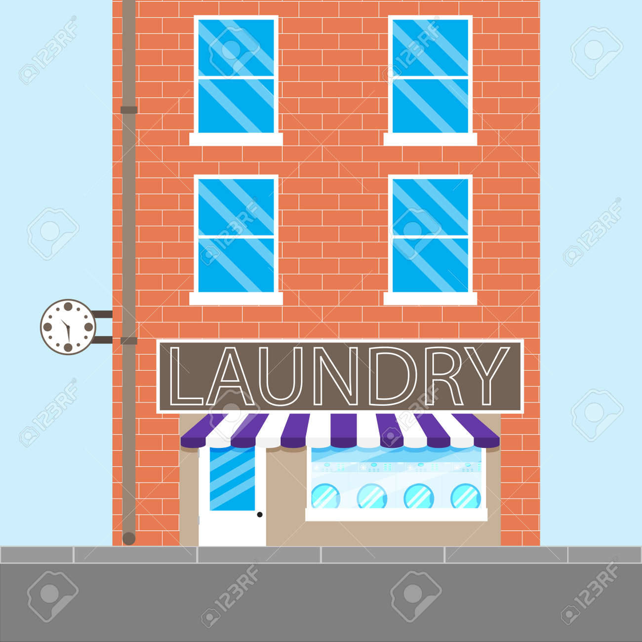 Laundry Brick Building Washing Machine And Dry Cleaning Service Vector Illustration Stock