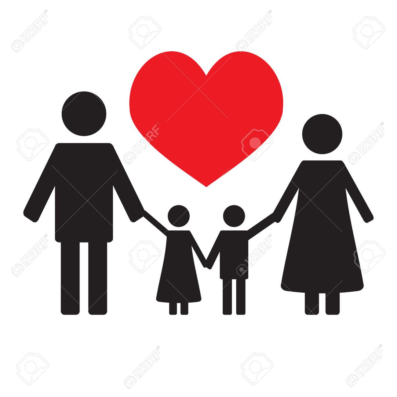 Feliz Amor Familiar La Silueta De La Familia Y Los Niños Aman