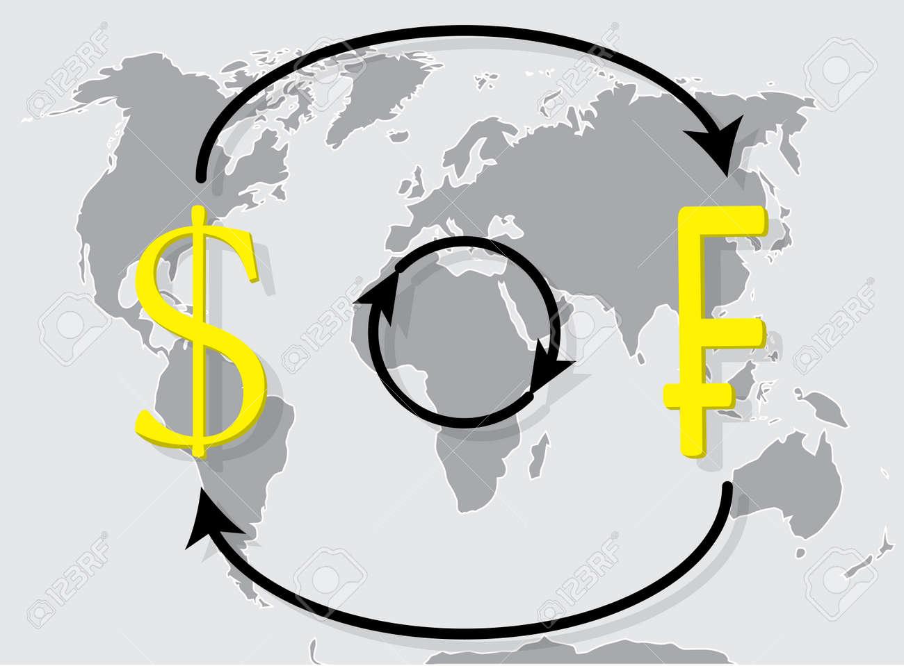 Cambio De Moneda Franco De Dólares En El Mapa Del Mundo De Fondo Tipo De Cambio Y El Intercambio De Dinero Ilustración Vectorial Ilustraciones Vectoriales Clip Art Vectorizado Libre De Derechos Image