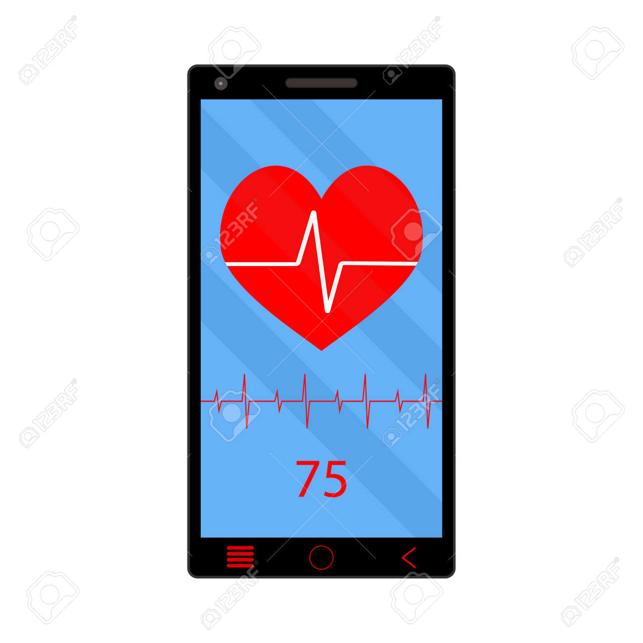 App heart rate monitor on phone  Technology smartphone, health