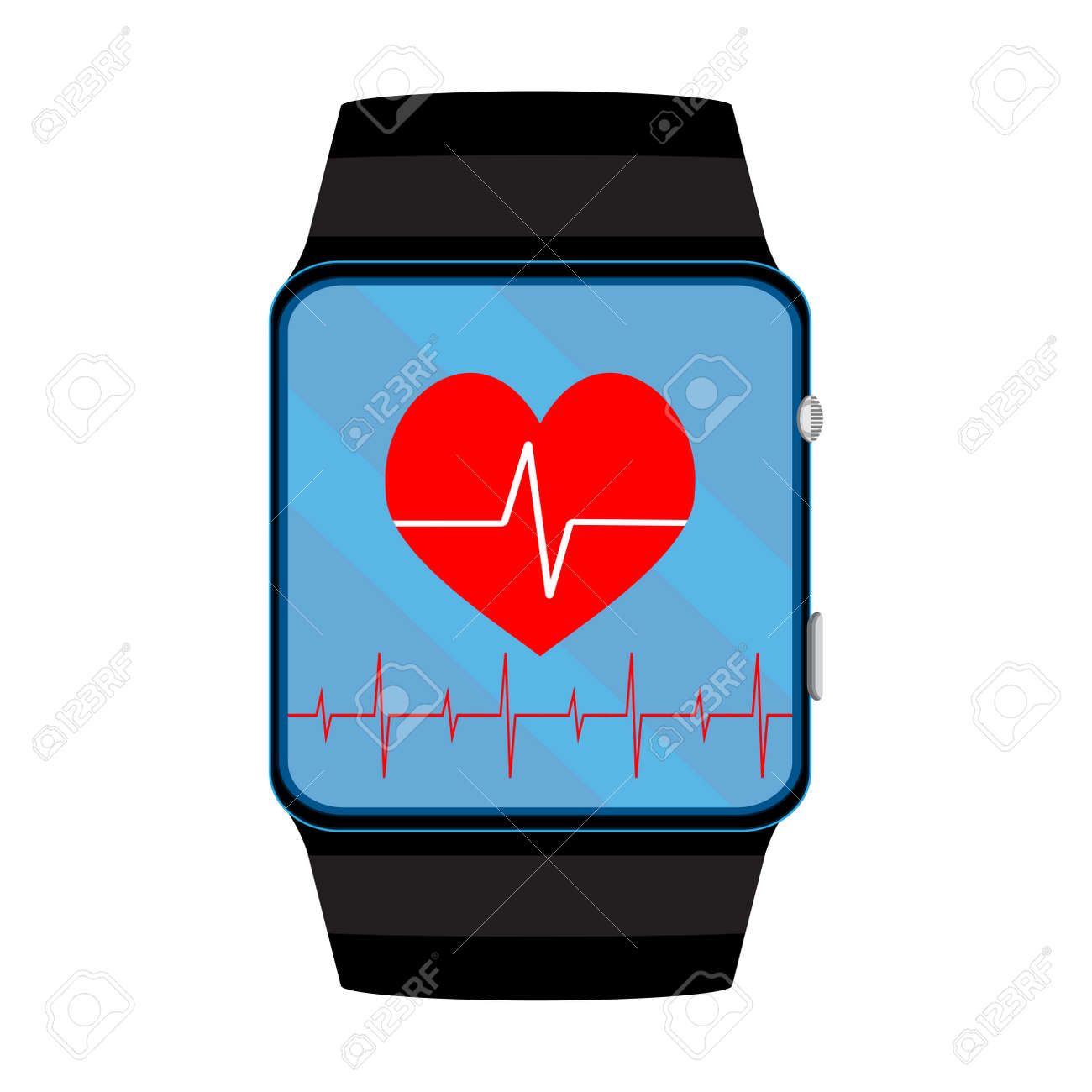 pulsometer smart watch pulse and heartbeat on smartwatch vector