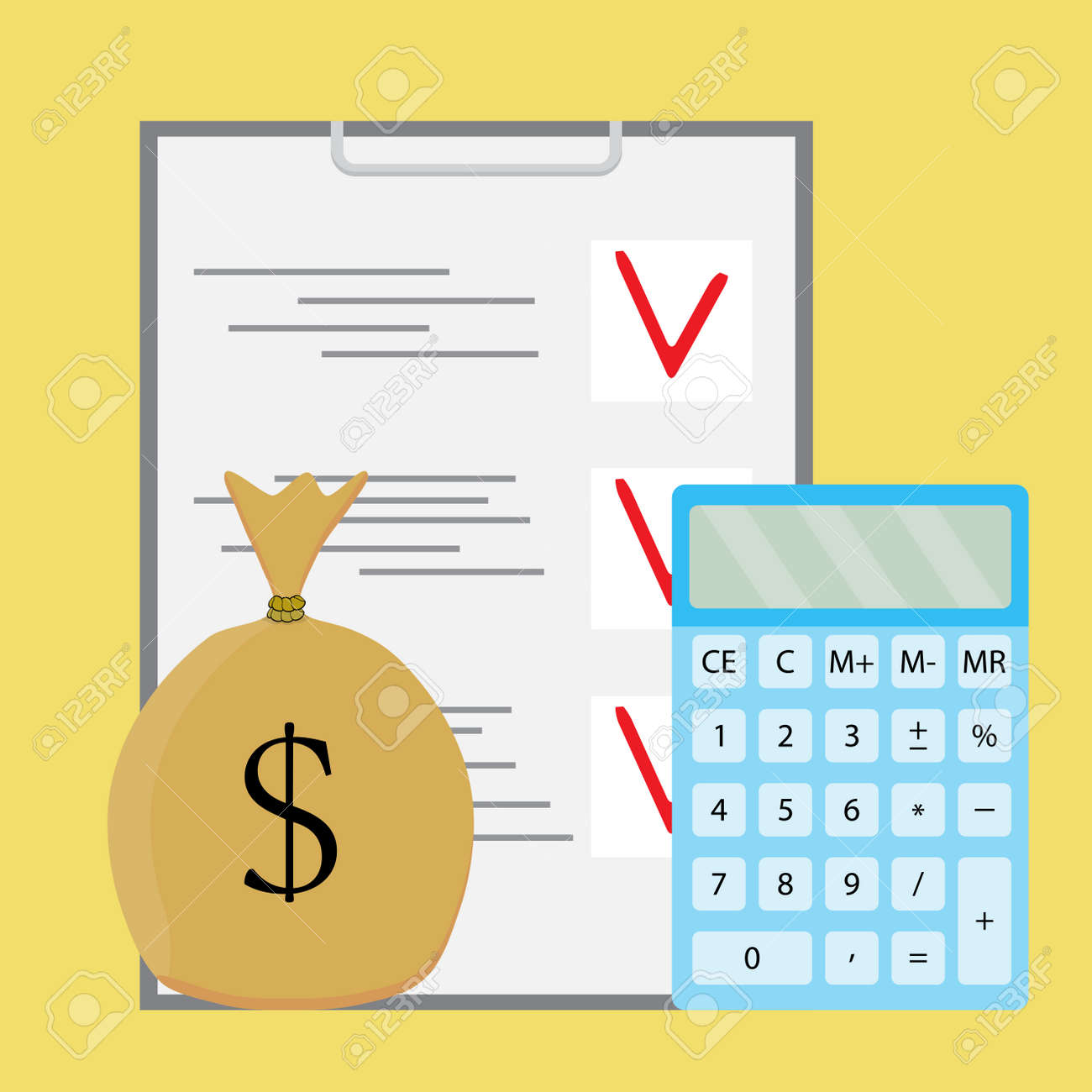 Audit counting money  Financial accounting, checklist and calculation