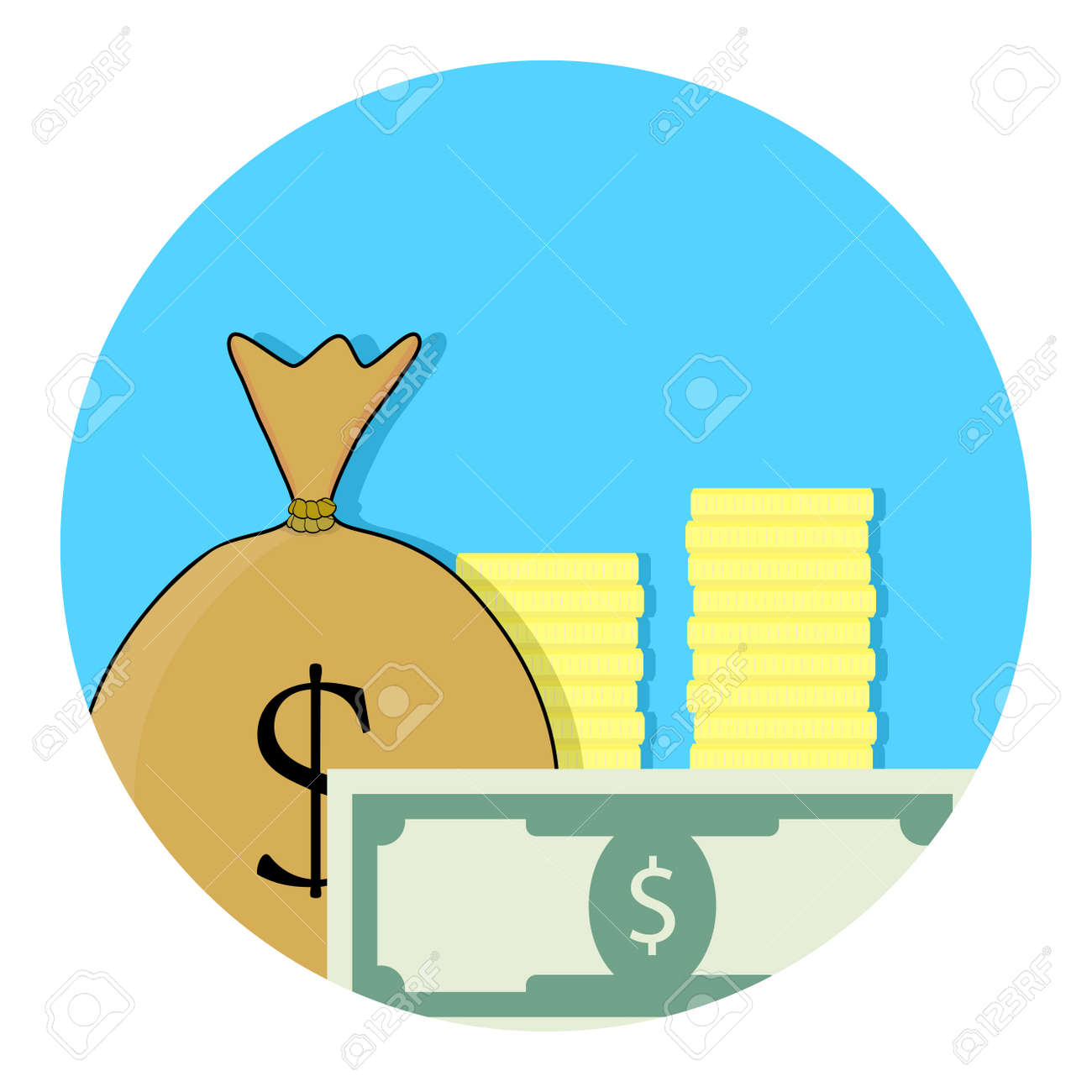 Capital Money Icon. Financial Budget, Banknote And Income, Success ...