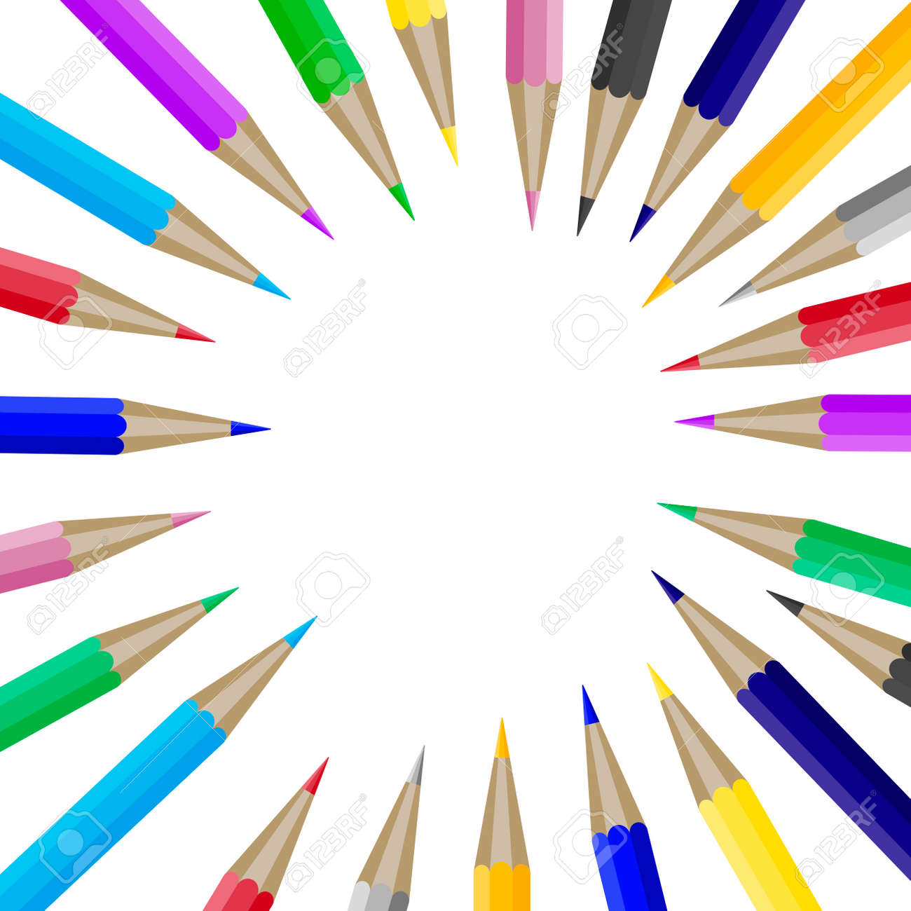 color pencils in round shape with copyspace for text banner