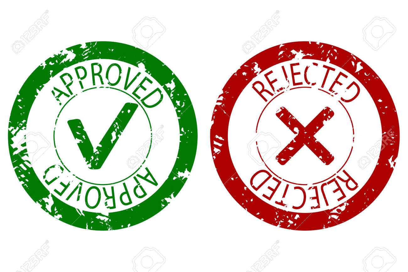 approved and rejected stamp seal color vector imprint rubber