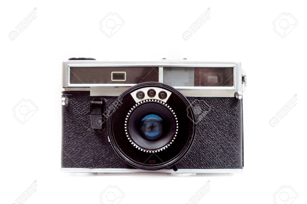 An old film camera on white background. Front view. Isolate. - 150233331