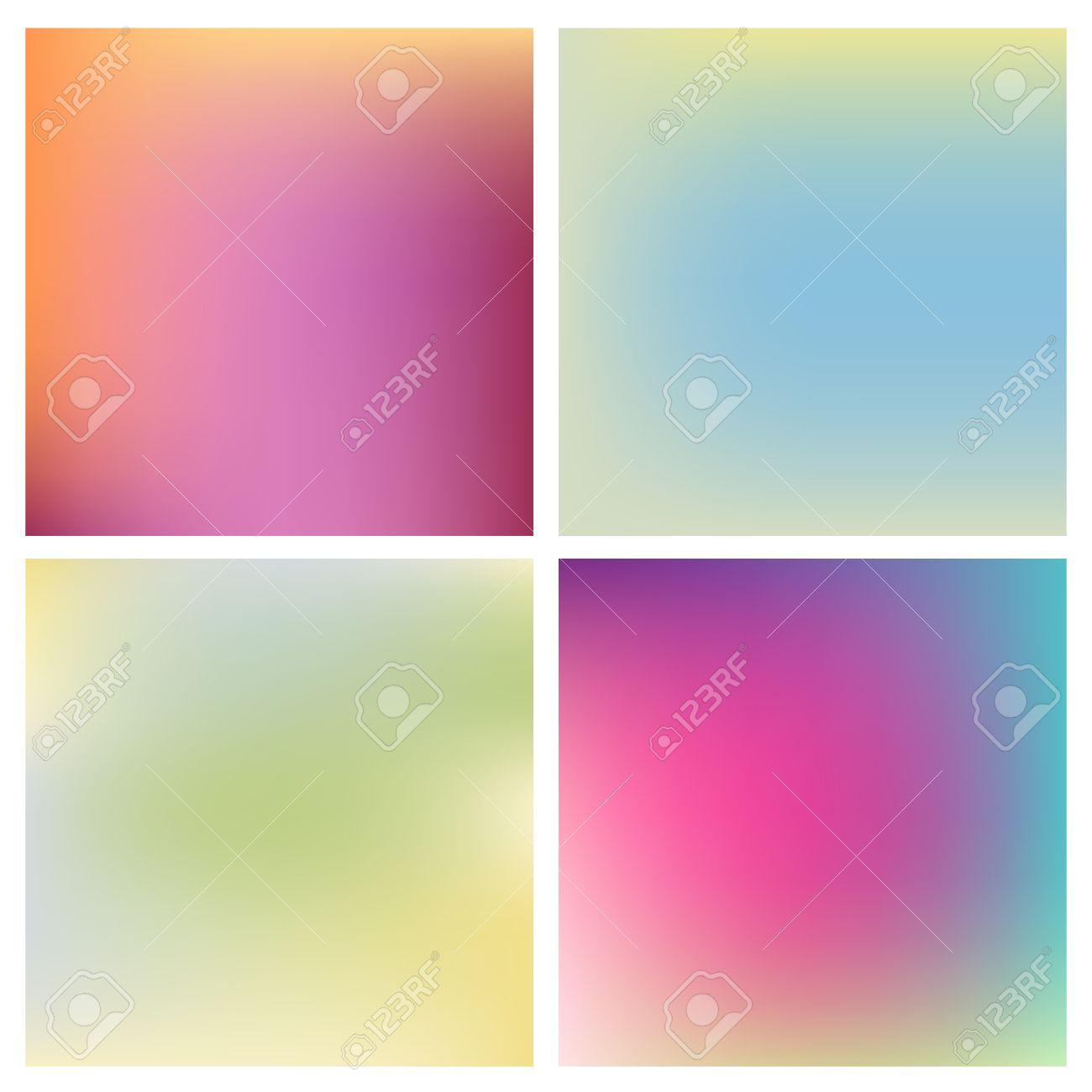 Ensemble de quatre beaux milieux floues différentes couleurs chaudes et  froides