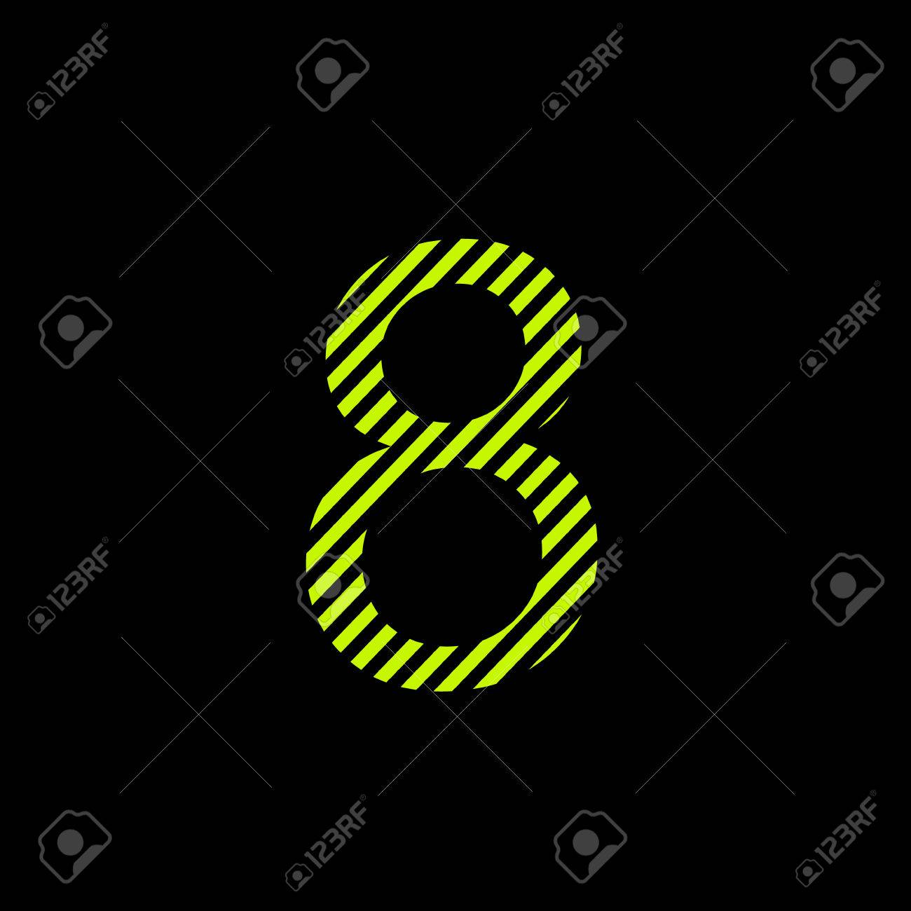 Number Eight. Black And Bright Lime Poison Color For Design Royalty ...