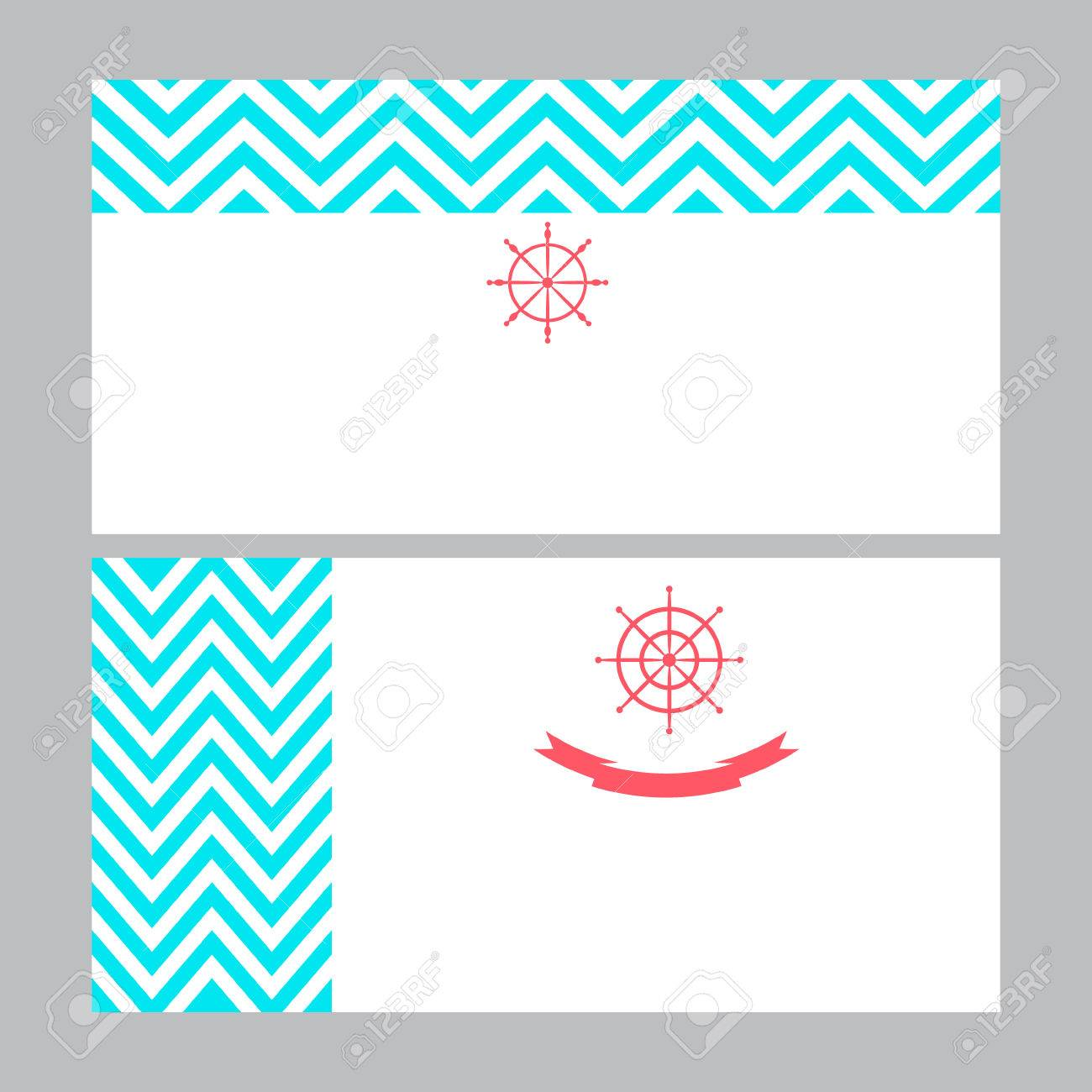 Business Card Template In Nautical Marine Style With Turquoise ...