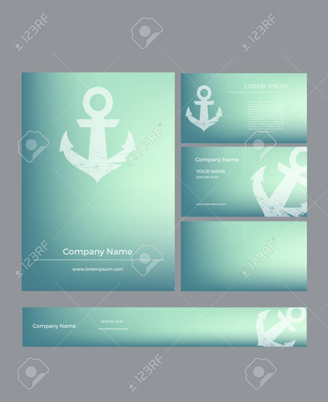 Set Of Business Cards In Marine Style On Blurred Background With ...
