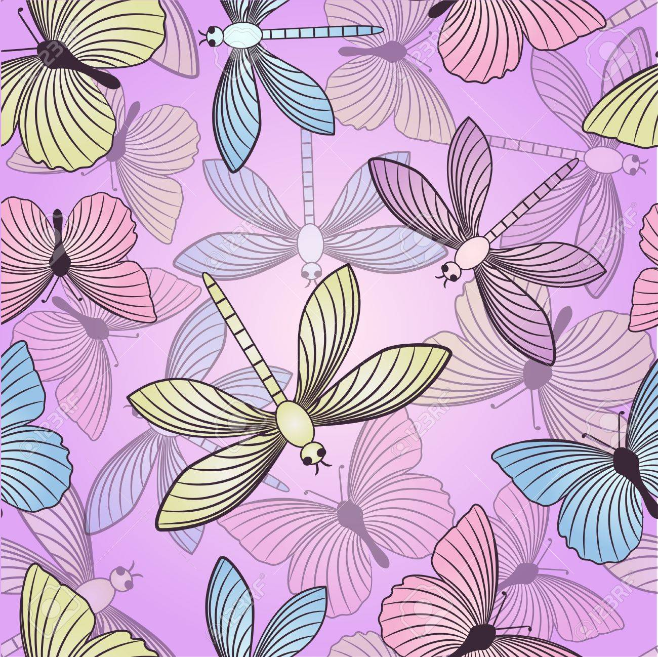 Seamless background with butterflies and dragonflies Stock Vector - 11660547