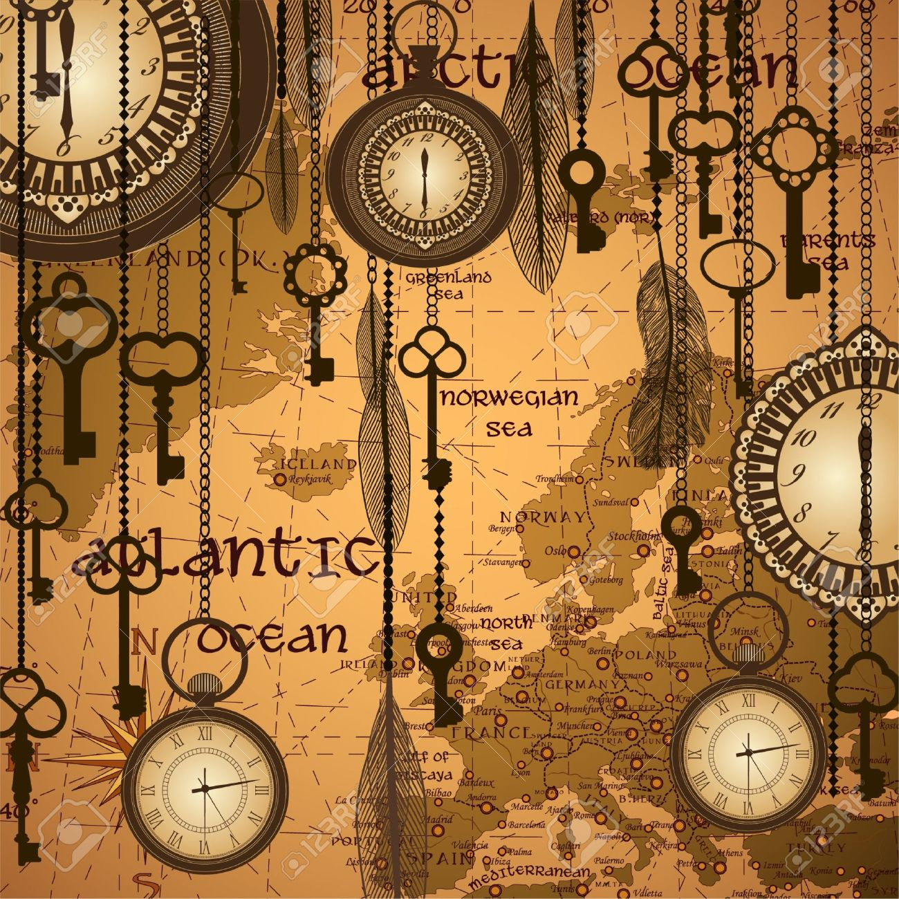 Antique background with map and clocks Stock Vector - 11660484