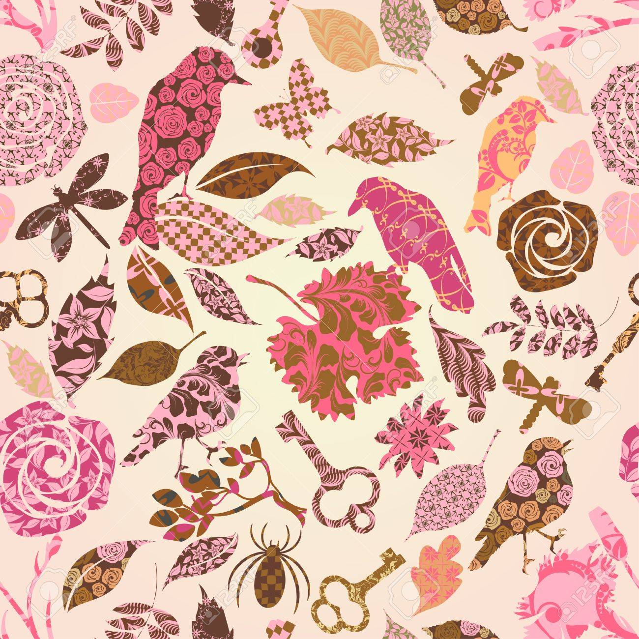 Seamless pattern with patch silhouettes Stock Vector - 11880294