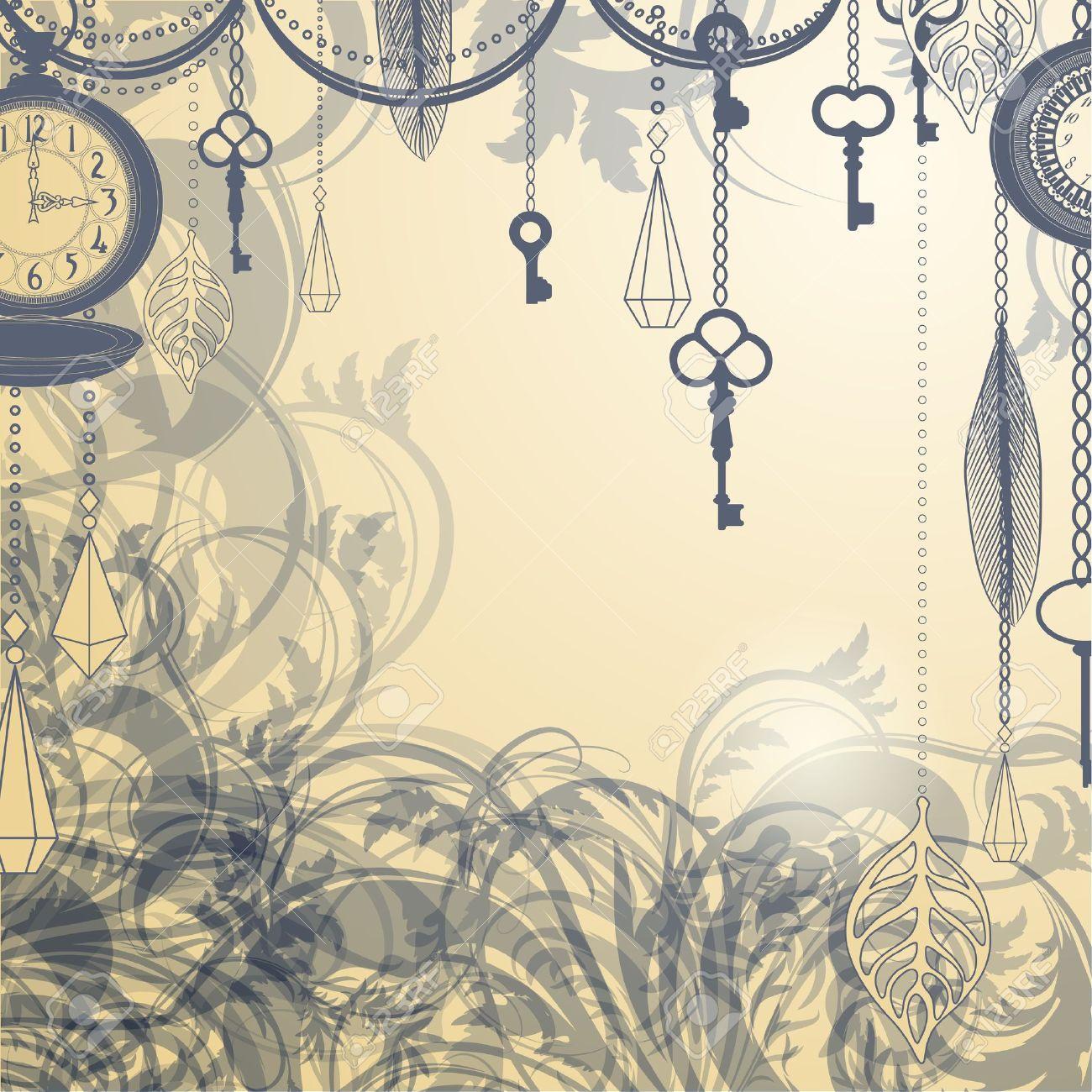 Antike uhr wallpaper  Vintage Hintergrund Mit Antiken Uhren Und Schlüssel Lizenzfrei ...