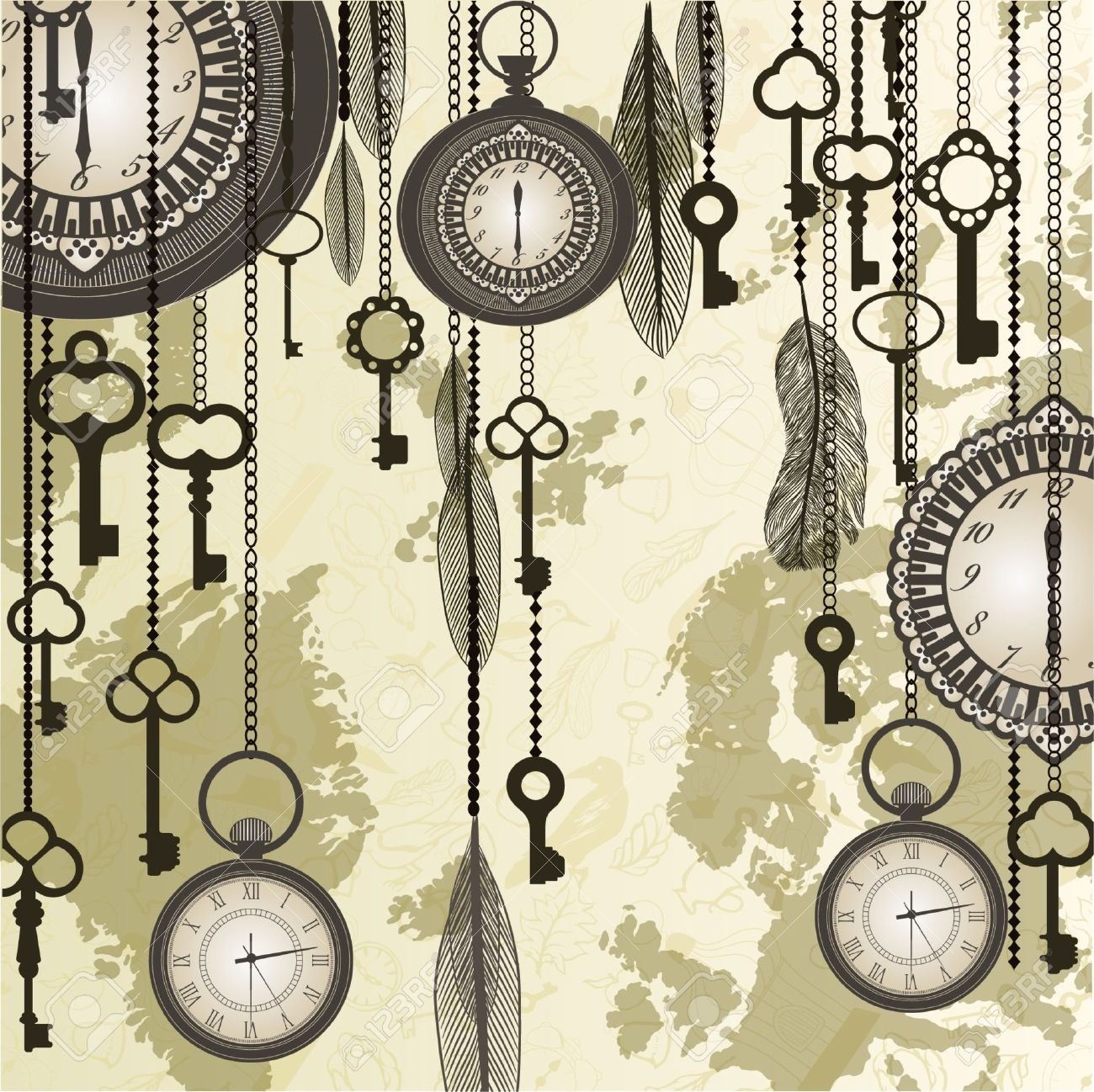 Antique background with grungy map and clocks Stock Vector - 12389418