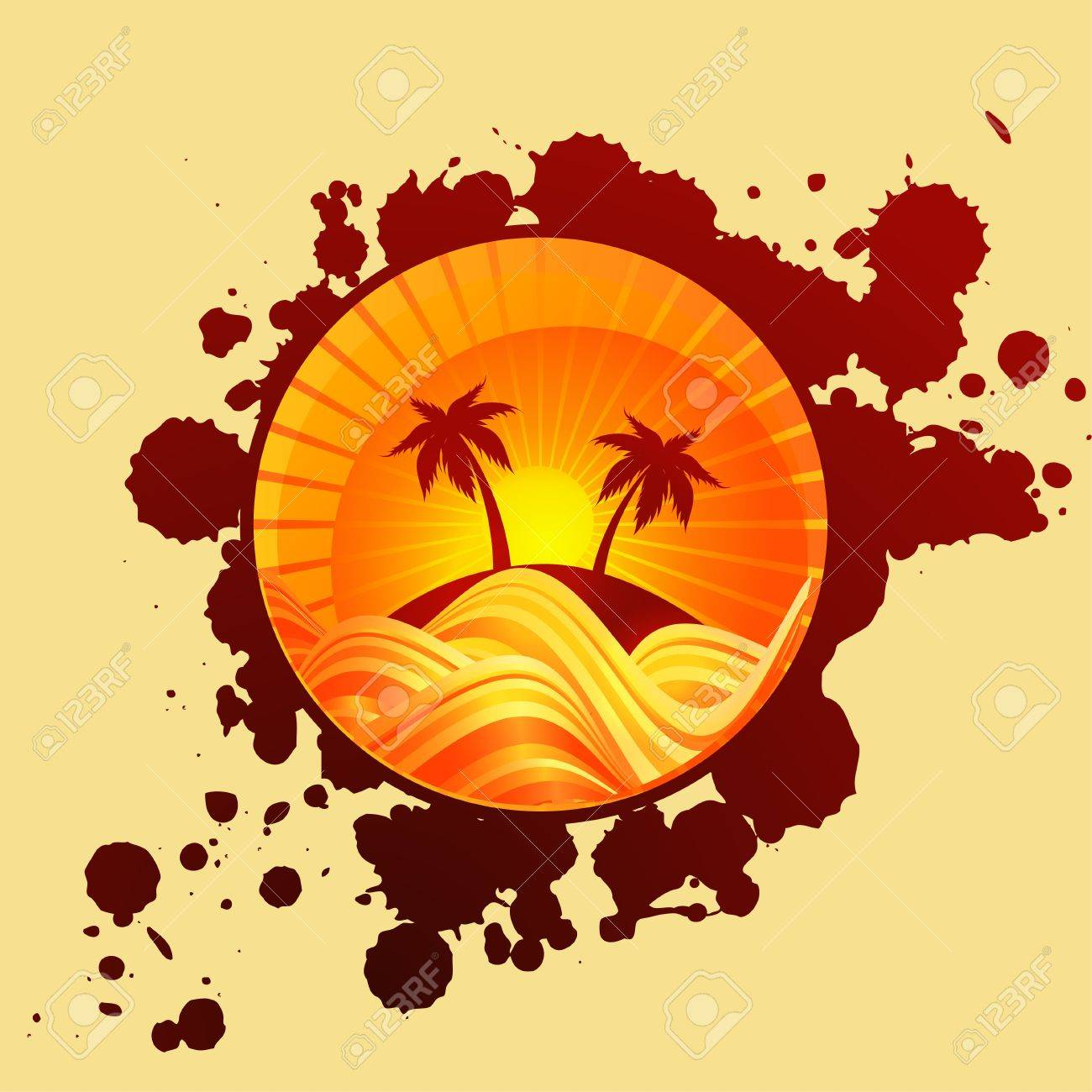Round summer background of palms and sea in sunset Stock Vector - 12910783