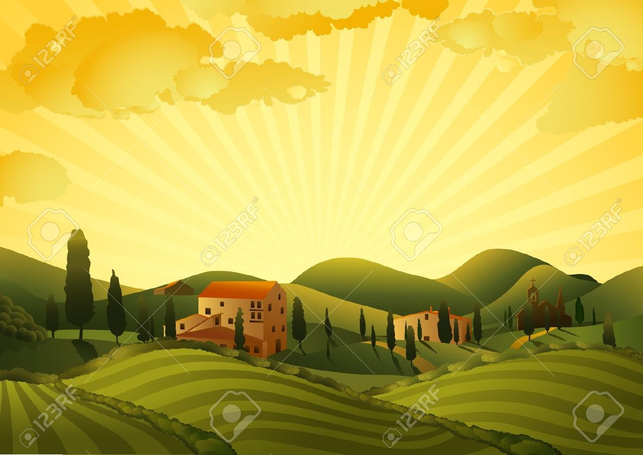 Rural landscape with fields and hills - 13039360