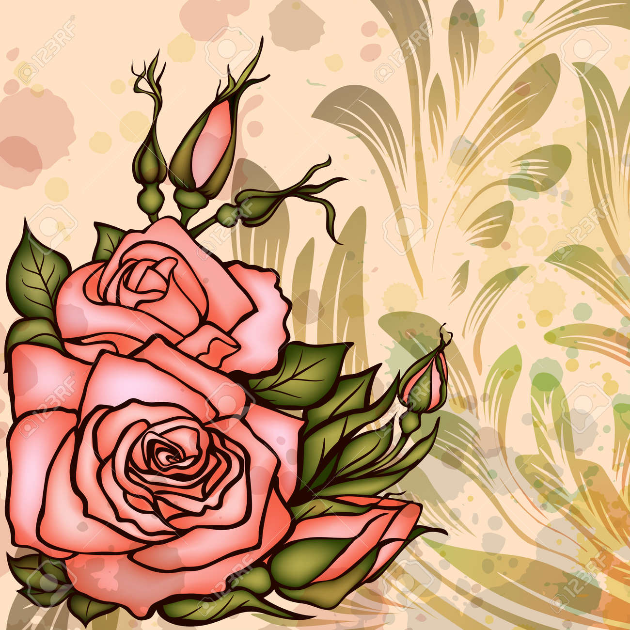 Grungy background with roses Stock Vector - 14254775