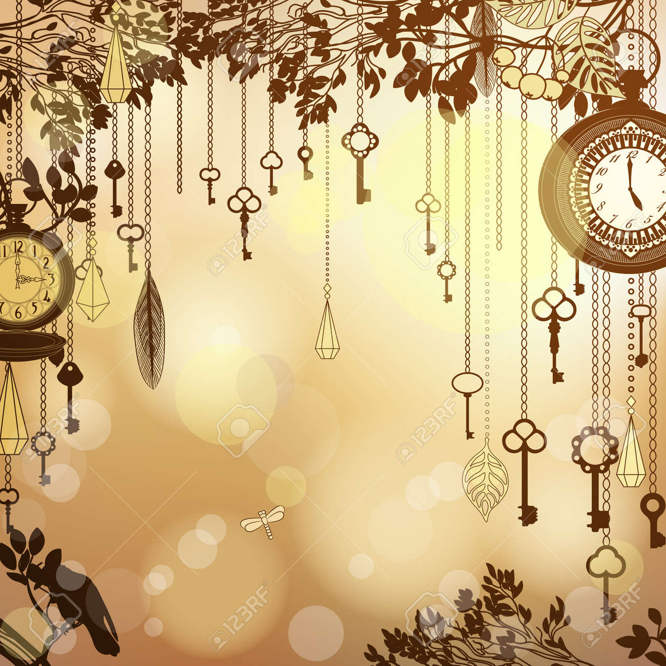 Antique Golden Background With Clocks And Keys Stock Vector