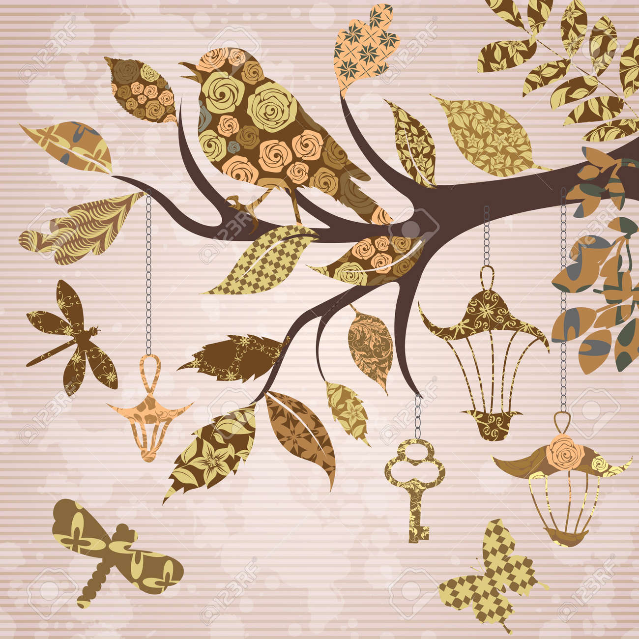 Scrap-booking background of tree branch - 17959228