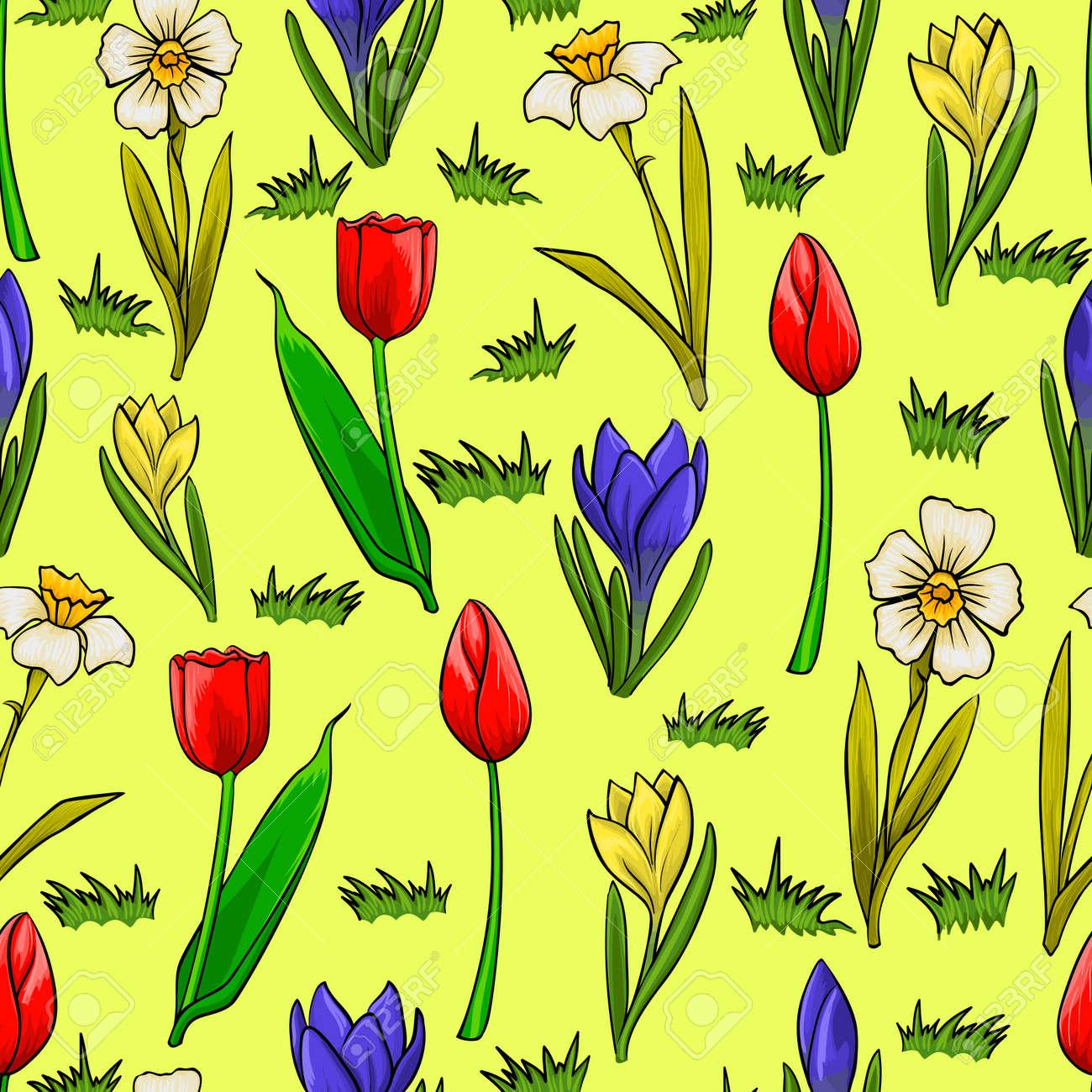 Vector De Dibujos Animados Patron Transparente Con Flores De