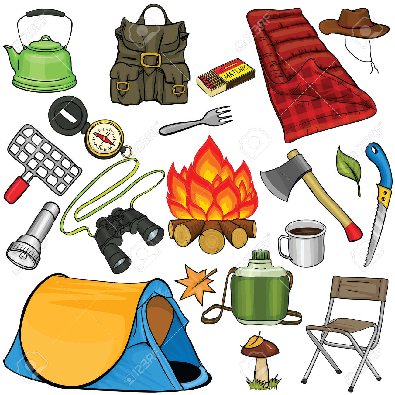 Set Of Camping Gear In Cartoon Style Stock Vector