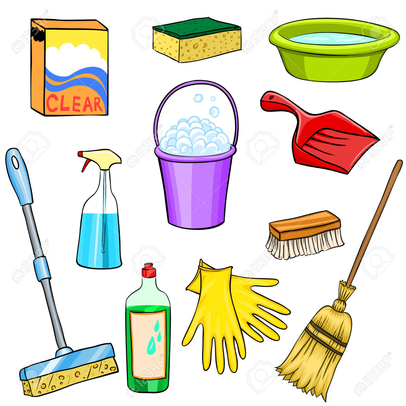 Cleaning Supplies Cartoon Set Royalty Free Cliparts, Vectors, And ...
