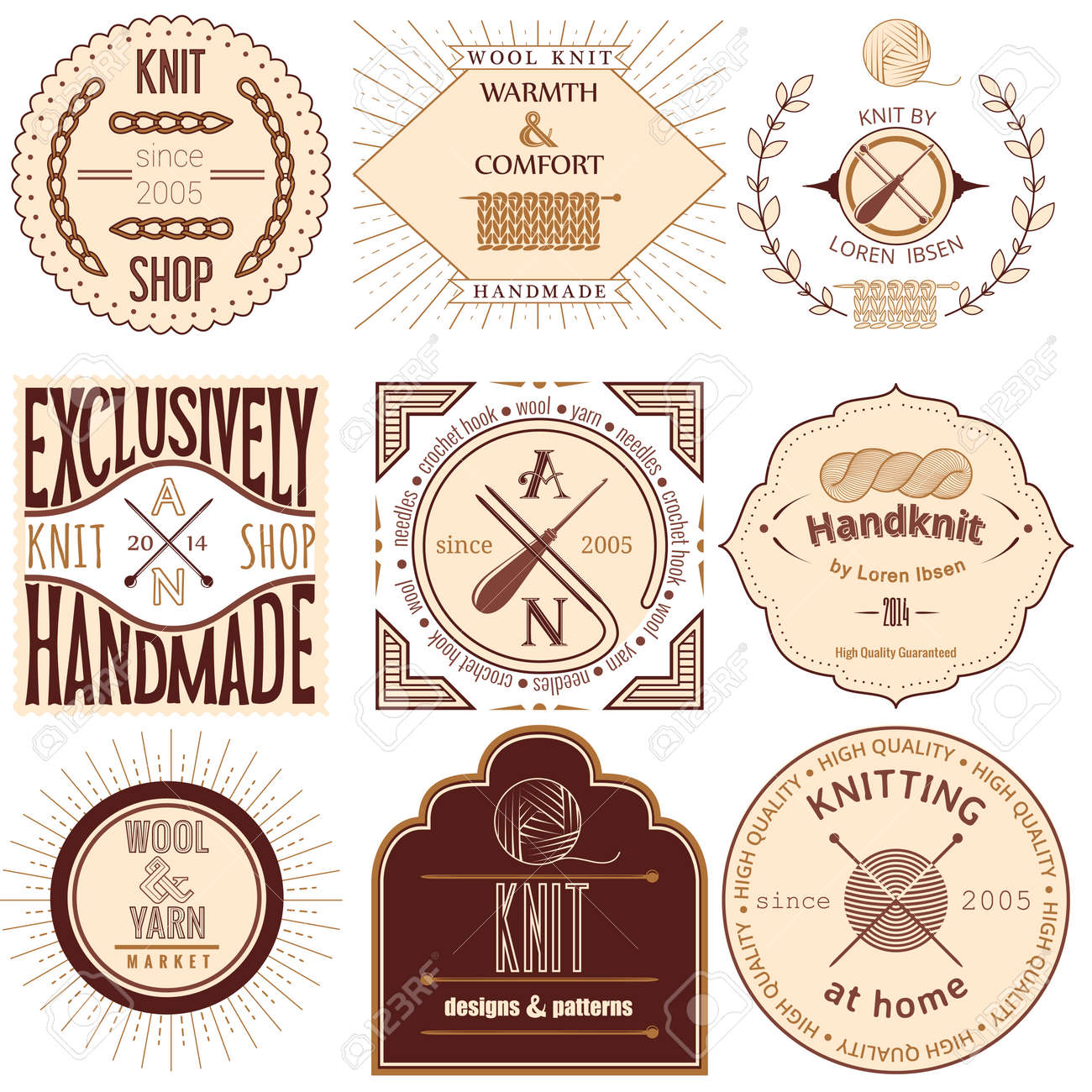 1f1ca6bb1a826 Set of vintage knitting labels, badges and design elements Vector..