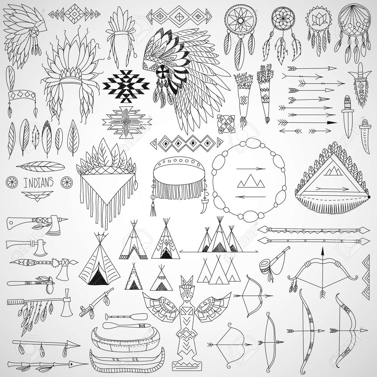 Collection Of Tribal Doodle Design Elements Frames, Arrows ...