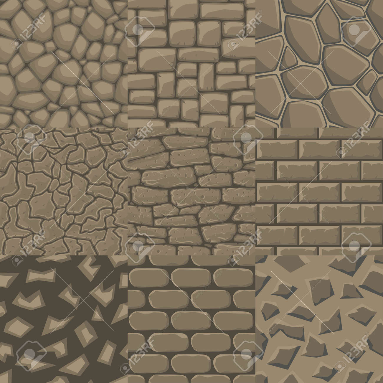 Vector cartoon stone wall seamless texture collection of 9 patterns. - 47933718