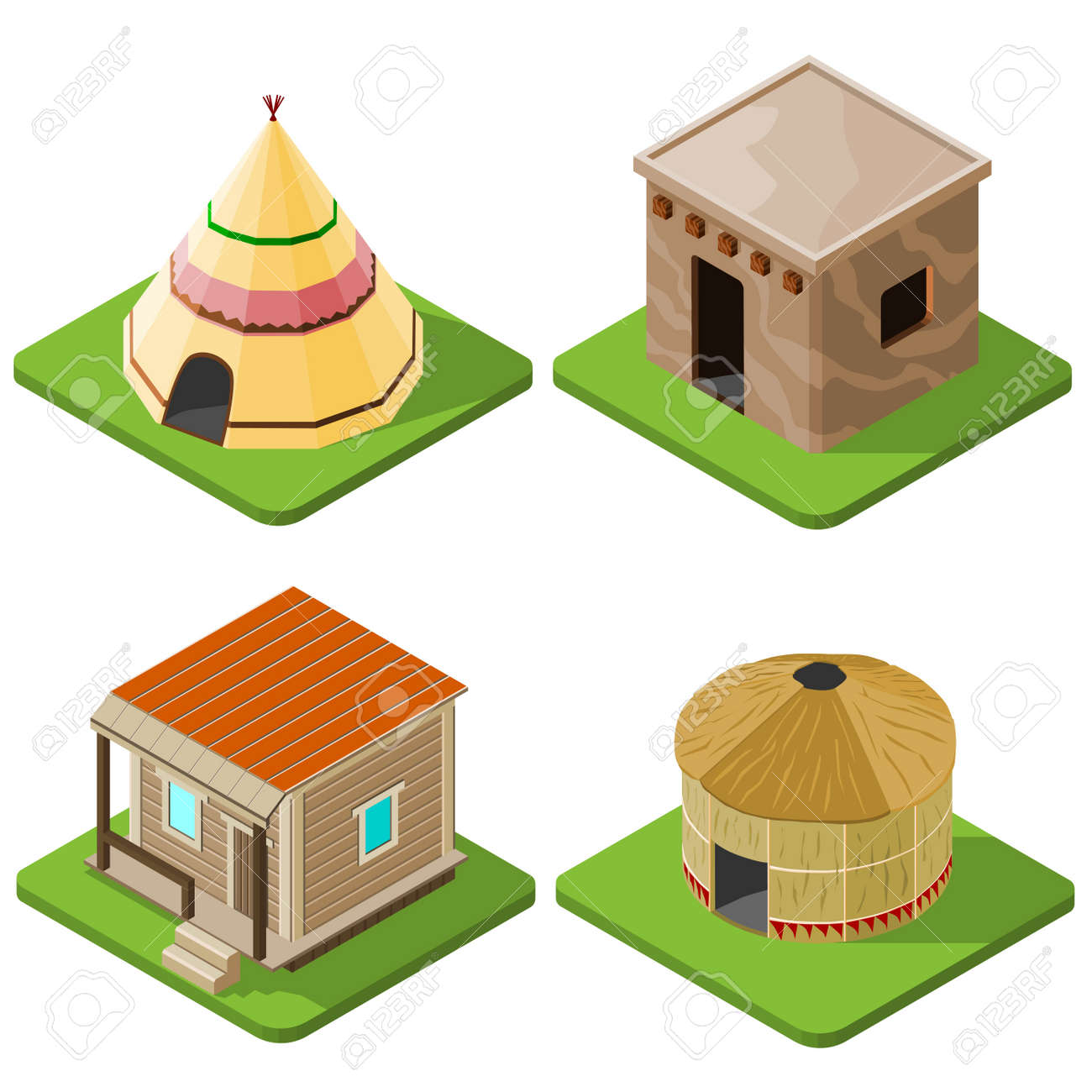 Set of nice looking bright isometric tribal native houses huts and tents. Vector illustration  sc 1 st  123RF.com & Set Of Nice Looking Bright Isometric Tribal Native Houses Huts ...