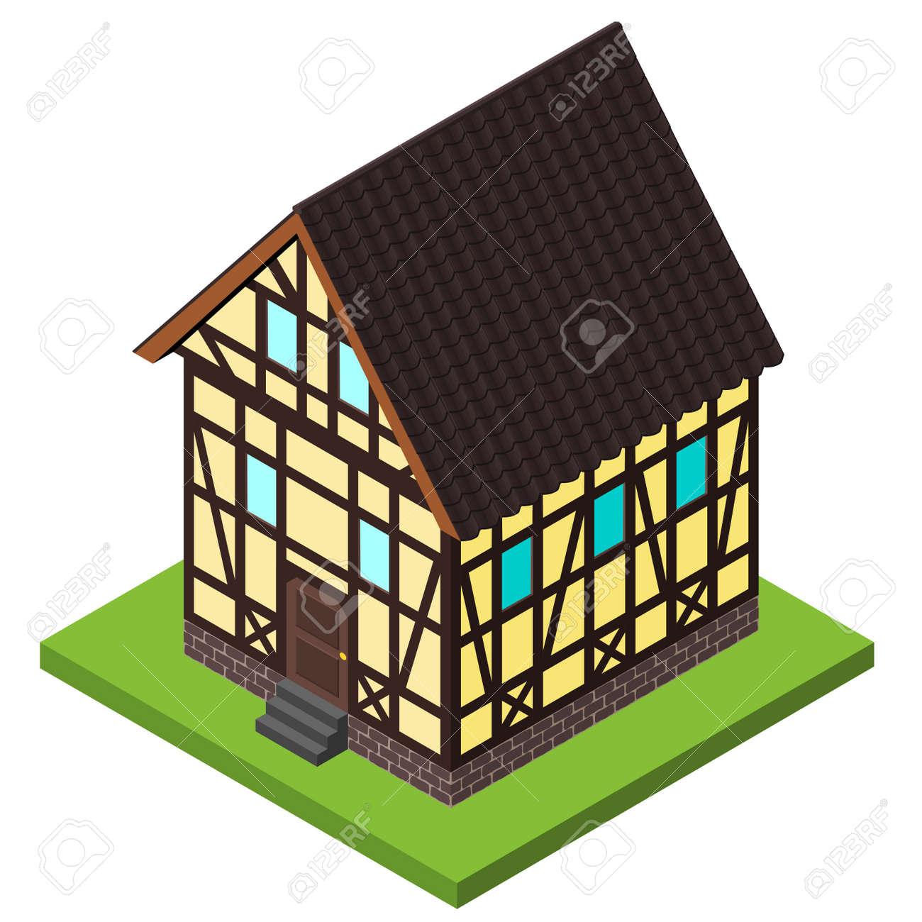 Vector Casa Rural En Estilo Isométrica Estructura De Madera. Antiguo ...
