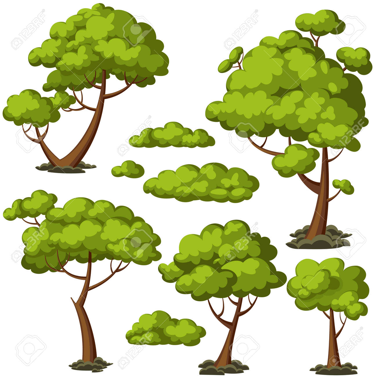 Set of funny cartoon trees and green bushes. Vector illustration. - 54320005
