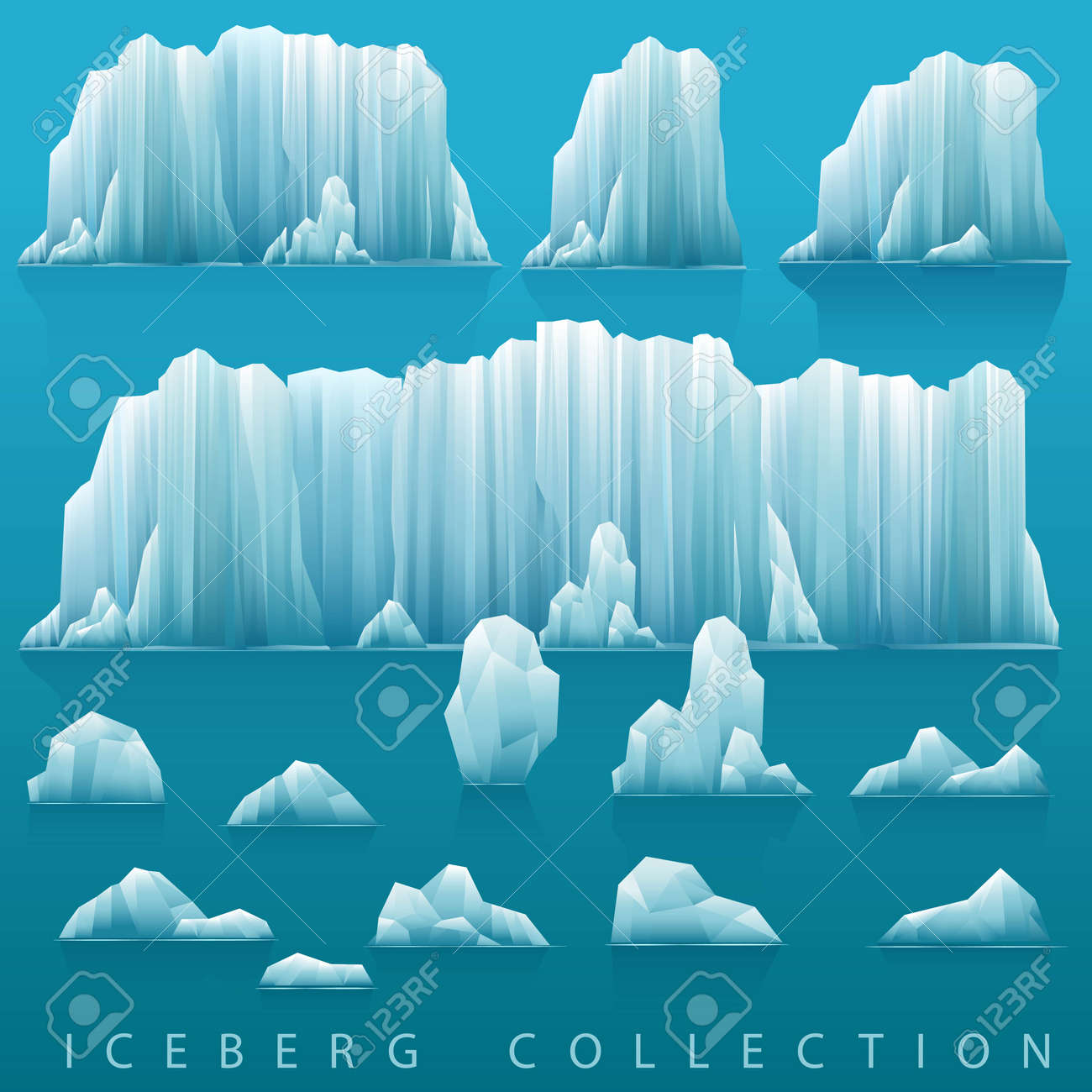 Background image parallax - Parallax Background Of Icebergs And Sea Vector Illustration Arctic Or Antarctic Landscape Stock