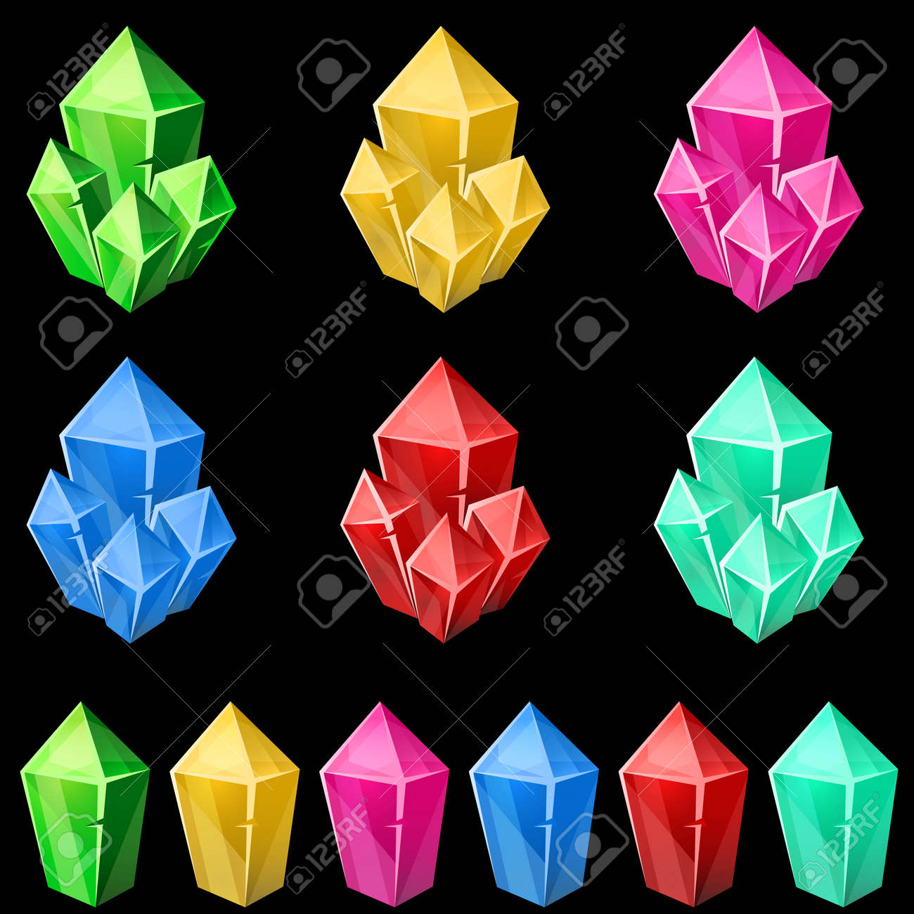 Set of colorful crystals  2d gem asset for games collection