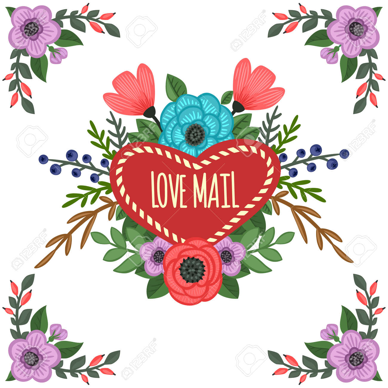 Heart-shaped Frame With Ornament Of Flowers Bouquet. Vector ...