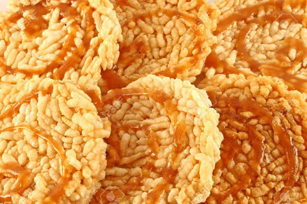 Traditional Thai Rice Cakes Ka Noom Nang Let With A Toffee Topping Stock Photo